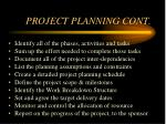 project planning cont