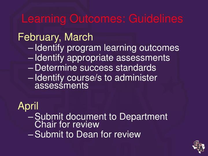 Learning Outcomes: Guidelines