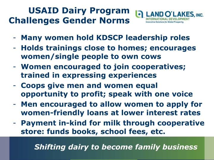 USAID Dairy Program Challenges Gender Norms