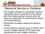 memorial service or visitation