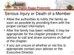 serious injury or death of a member