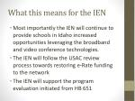 what this means for the ien
