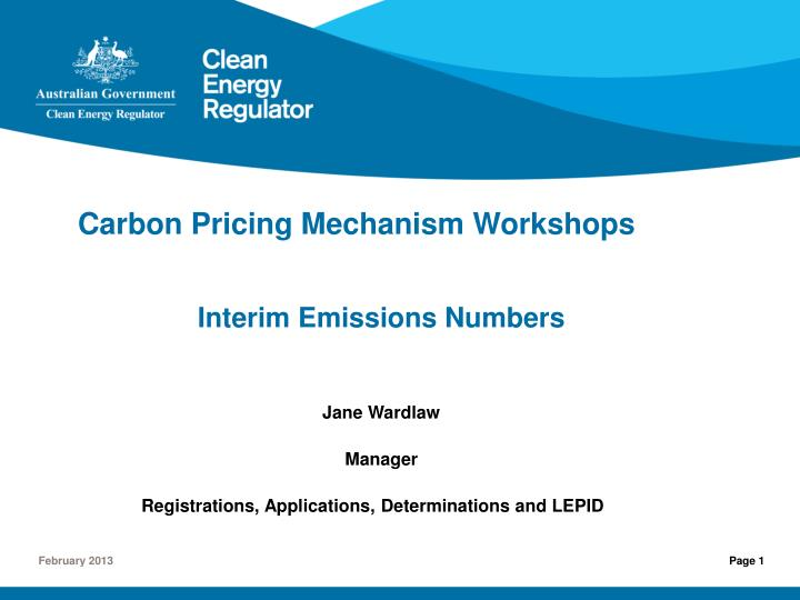 carbon pricing mechanism workshops n.