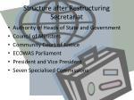structure after restructuring secretariat