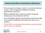 needs and benefits of international collaboration