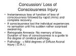 concussion loss of consciousness injury