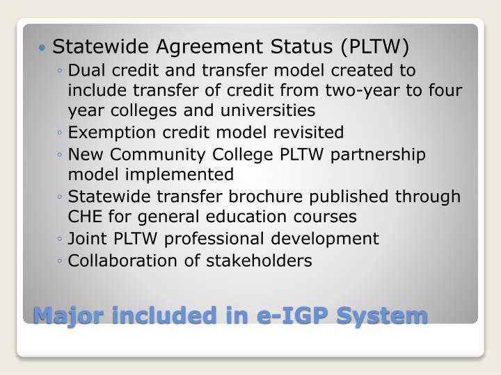 Statewide Agreement Status (PLTW)