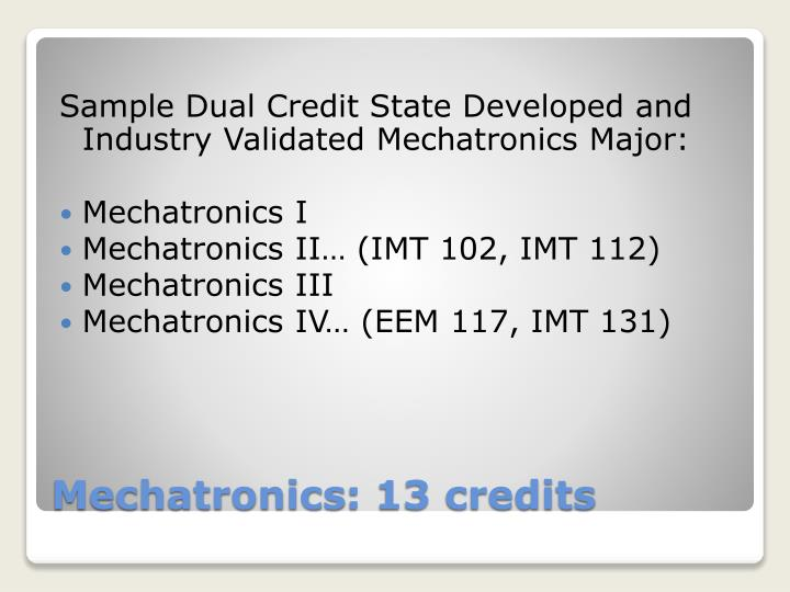 Sample Dual Credit State Developed and Industry Validated