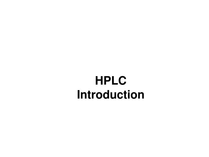 hplc introduction n.