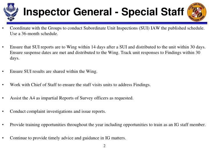 PPT - Inspector General - Special Staff PowerPoint