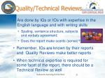 quality technical reviews