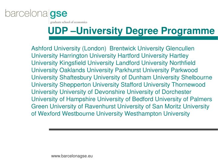UDP –University Degree Programme