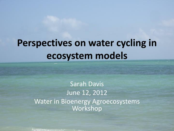 perspectives on water cycling in ecosystem models n.