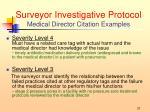 surveyor investigative protocol medical director citation examples