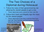 the two choices of a diplomat during holocaust