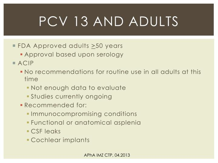 PCV 13 and Adults