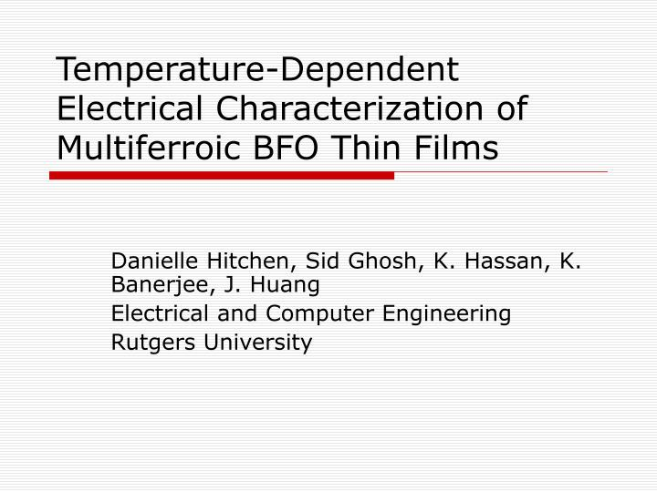 temperature dependent electrical characterization of multiferroic bfo thin films n.