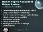human capital consultant unique partner