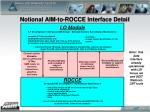 notional aim to rocce interface detail