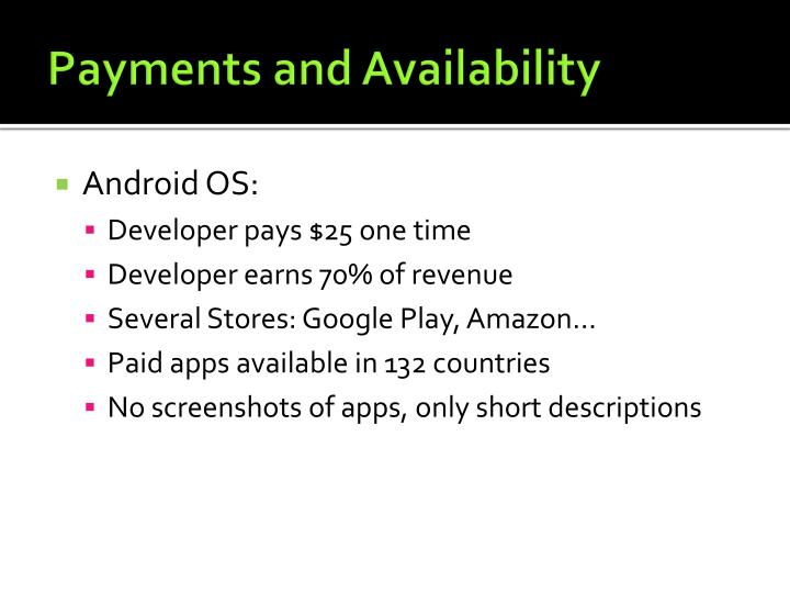 Payments and Availability