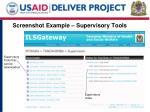 screenshot example supervisory tools