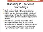 disclosing phi for court proceedings