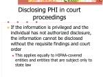 disclosing phi in court proceedings