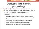 disclosing phi in court proceedings1