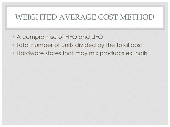 Weighted Average cost Method