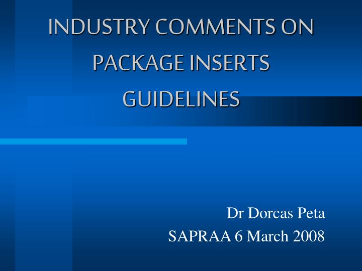 industry comments on package inserts guidelines n.
