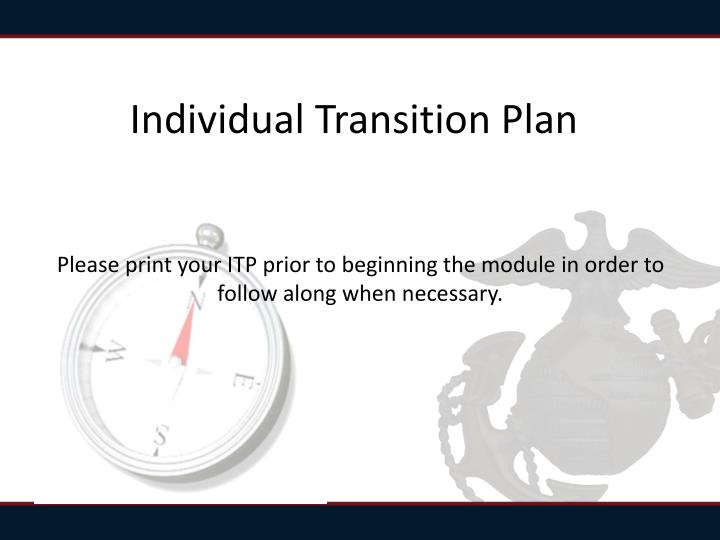individual transition plan n.