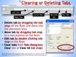 clearing or deleting tabs