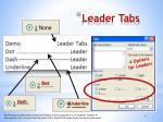 leader tabs