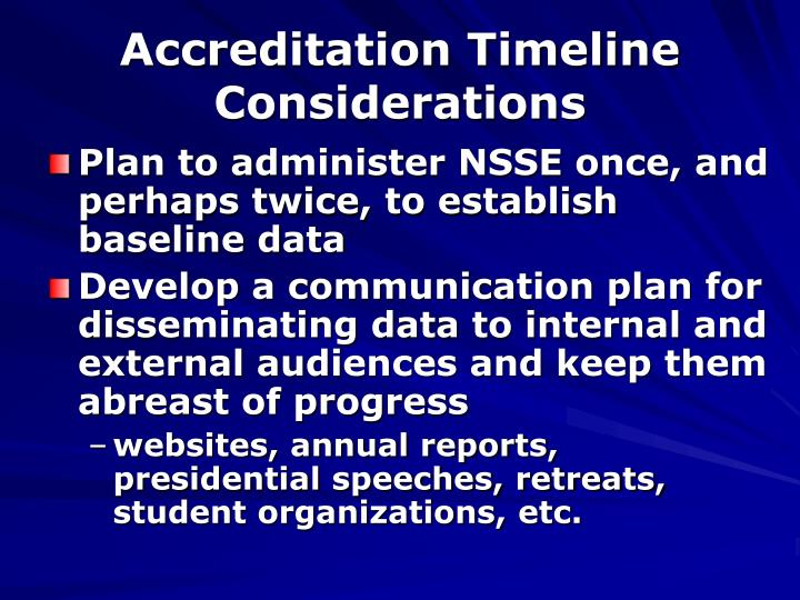 Accreditation Timeline Considerations