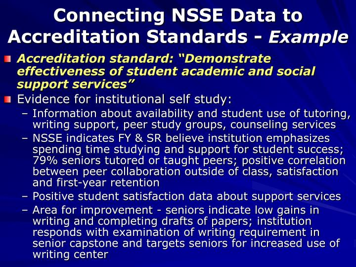 Connecting NSSE Data to Accreditation Standards -