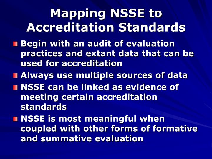 Mapping NSSE to Accreditation Standards