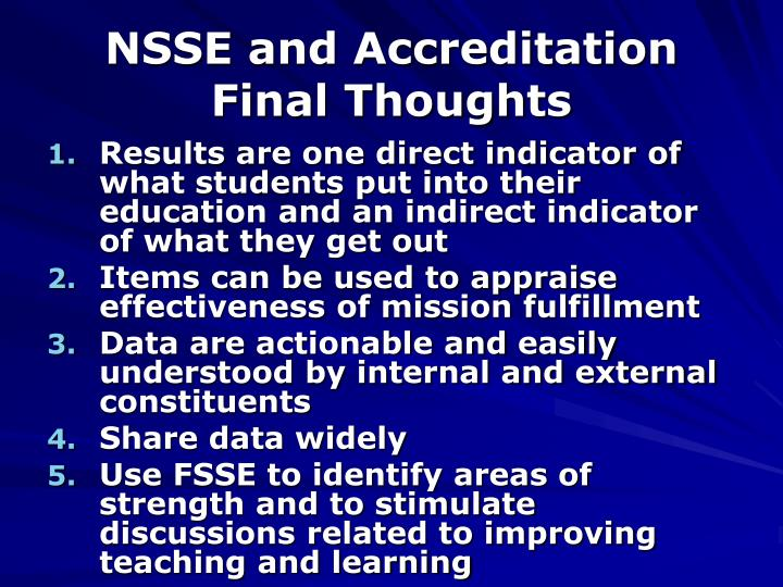 NSSE and Accreditation