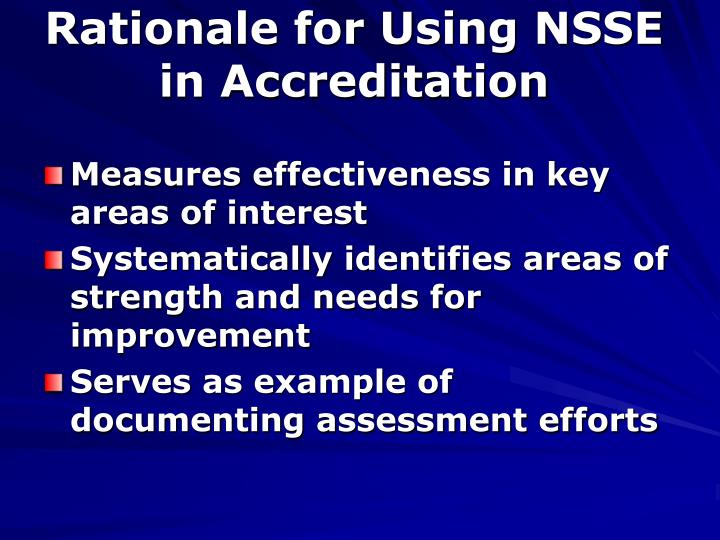 Rationale for Using NSSE