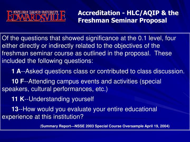 Accreditation - HLC/AQIP & the Freshman Seminar Proposal