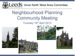 inner north west area committee