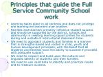 principles that guide the full service community school work