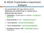 el agua propiedades e importancia biol gica