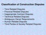 classification of construction disputes