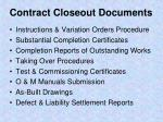 contract closeout documents