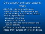 core capacity and sector capacity needs