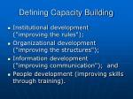 defining capacity building