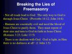 breaking the lies of freemasonry