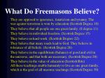 what do freemasons believe