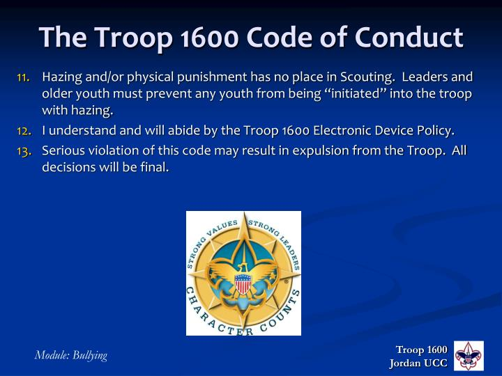 The Troop 1600 Code of Conduct