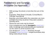relatedness and synergy an inside out approach